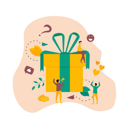 Online gift box. Promotion of online store or shop loyalty program and bonus. Vector illustration for advertisement