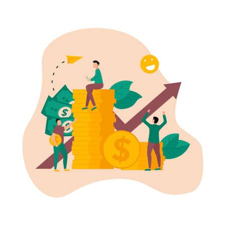 Finance and Business growth blue arrow. Dollar coins with growth arrow. Finance concept