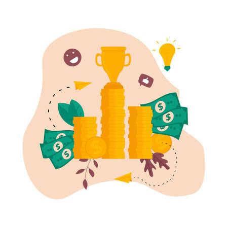 Financial success illustration. Business success flat design concept Banco de Imagens - 159412932