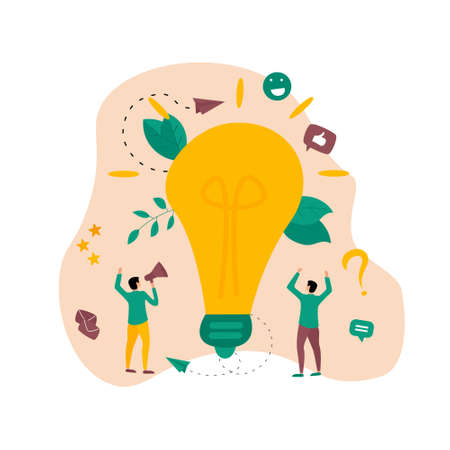 Creativity business idea concepts with big bulb. Vector illustration.
