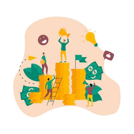 Financial success illustration. Business success flat design concept Ilustração