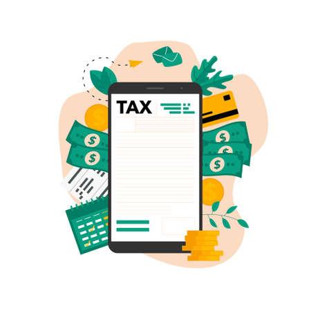 Tax payment vector illustration concept. Filling tax form. Banco de Imagens - 159882530