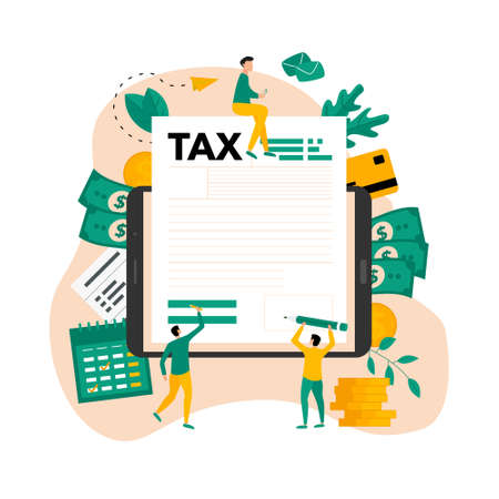 Tax payment vector illustration concept. Filling tax form. Ilustração