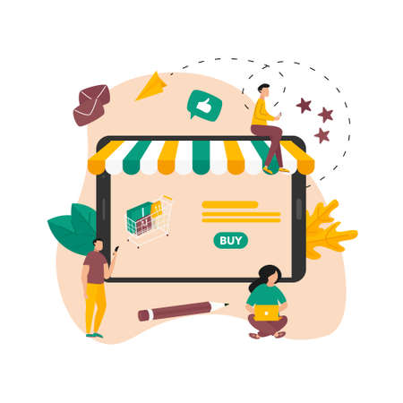 Online shopping concept, shopping basket and small people, buying online store Banco de Imagens - 159902467
