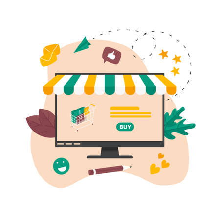 Online shopping concept, shopping basket and small people, buying online store