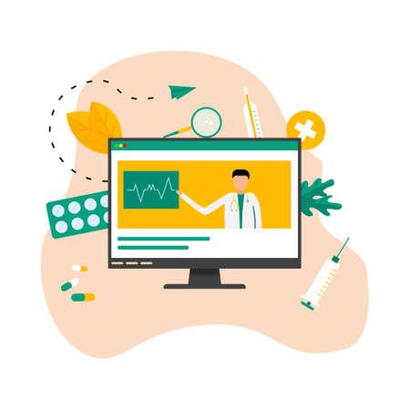 Online healthcare and medical consultation concept. Vector flat illustration Banco de Imagens - 159989370