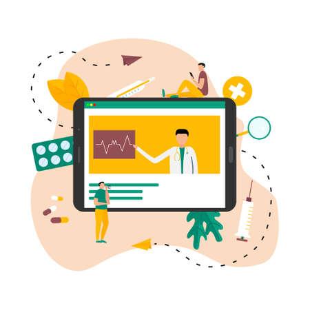 Online healthcare and medical consultation concept. Vector flat illustration Banco de Imagens - 159989371