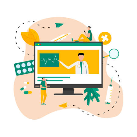 Online healthcare and medical consultation concept. Vector flat illustration