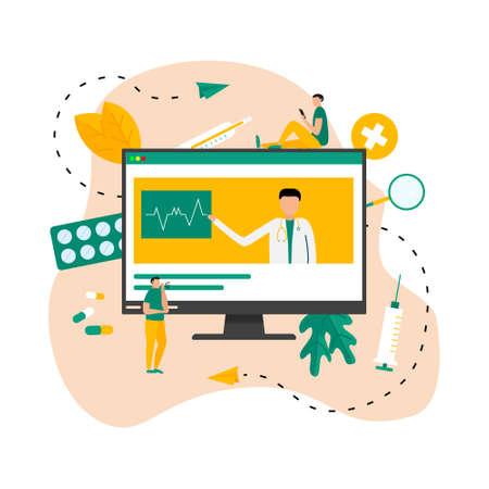 Online healthcare and medical consultation concept. Vector flat illustration Banco de Imagens - 159989374