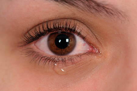 crying eyes: Close up of eye with tear Stock Photo