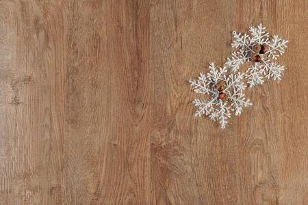on wood floor: christmas balls decoration on wood floor