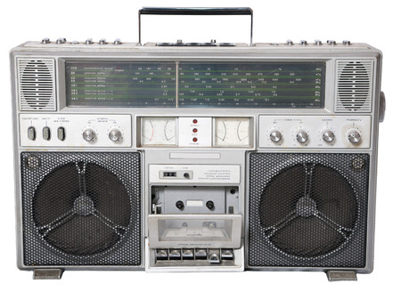 70's: Isolated a old Cassette player from 70s Stock Photo