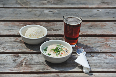 root beer: Lunch of rice with root beer and spicy soup