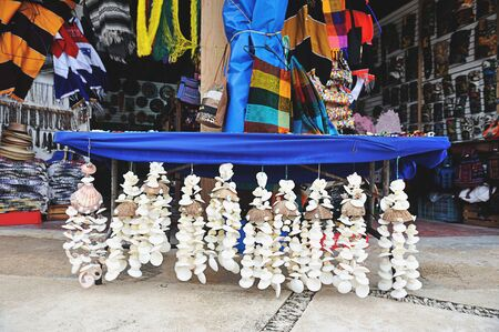 touristic: Selling colourful shells souvenirs in touristic place Stock Photo
