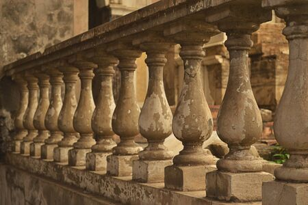 old church: Row of balustrade in balcony of old church Stock Photo