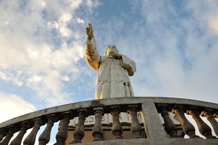 jesus statue: Jesus statue on sun slight trays in San Juan Del Sur