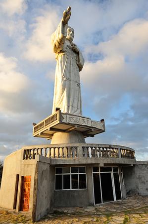 jesus statue: Jesus statue in orange sunlight in Nicaragua