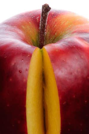 sliced apple: sliced apple red  fresh vivid isolated on white Stock Photo
