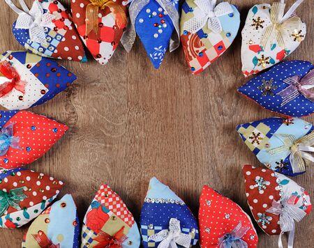 boarders: valentine heart shape boarder on wood table