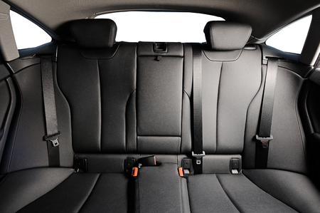 back black leather seat of the car isolated
