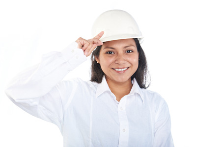 young engineer: young engineer woman with hard hat isolated Stock Photo