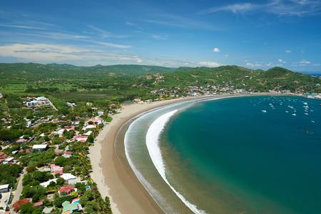 Weergave van San Juan del Sur baai Nicaragua Stockfoto - 57425585