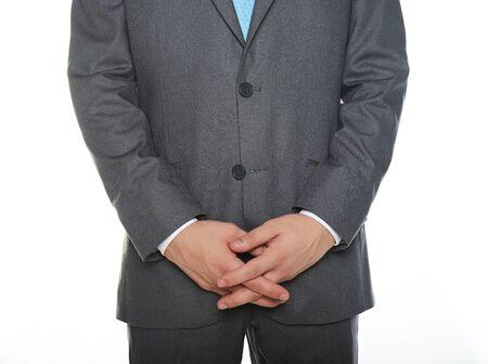manos unidas: Cerca del hombre con las manos juntas aisladas en blanco