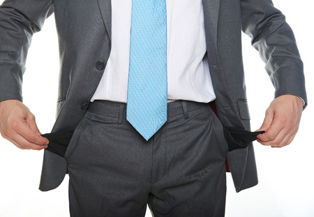 with no money: poor business man with no money isolated on white Stock Photo