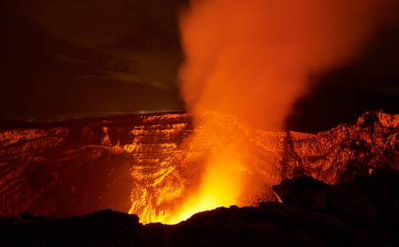 come in: flame in volcano crater come with smoke at night