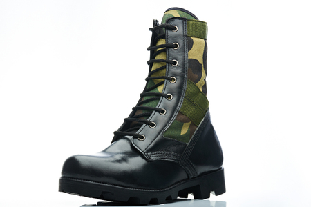 tall leather camouflaged men boot for military work