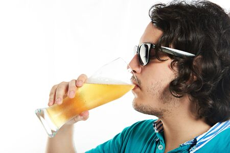 man profile: Profile of man in sunglasses drink beer isolated on white