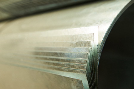 alloy: close up of roll metal sheet in warehouse Stock Photo