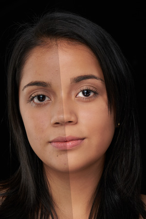 photoshop: close up of woman face before and after photoshop Stock Photo