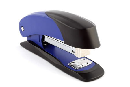one blue stapler isolated on white background