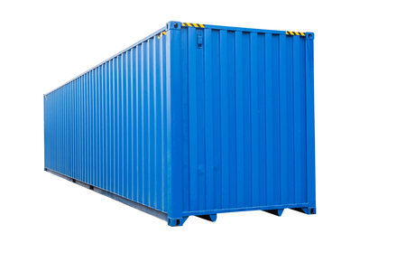 container box: Blue transportation container isolated on white background