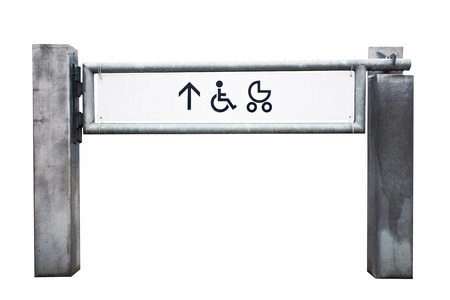 Entrance to the shop for physically challenged persons and strollers isolated on white