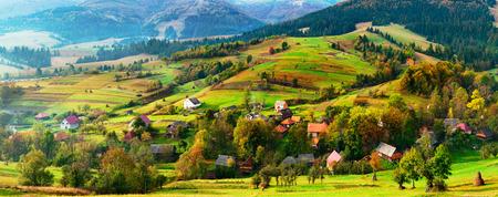Carpathians nature landscape of autumn mountains valley