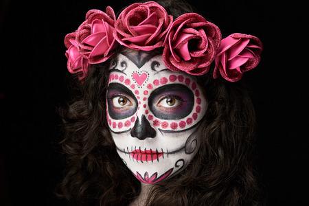 分離された女性黒のハロウィーン化粧装飾 写真素材
