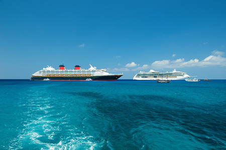 cruise ships in blue water of caibbean sea