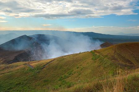 active volcano: active volcano crater with smoke in masaya nicaragua
