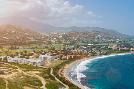 aerial view on coast of beach in st kitts island