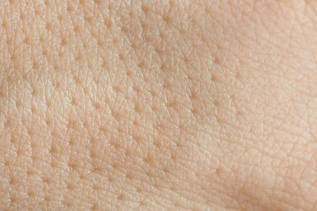 Poren op menselijke huid macro. Close-up van Kaukasische huid met holls