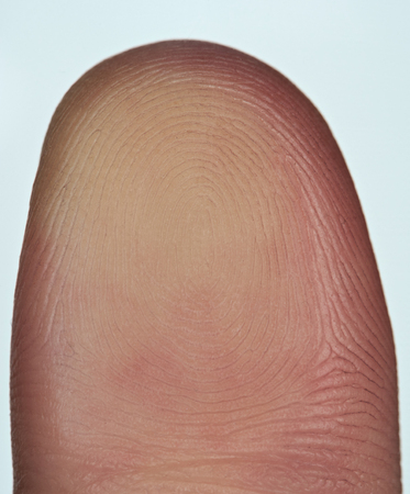 Finger print of thumb on glass isolated on white background