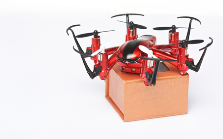 drones: Delivery packages via drones concept. Fast air parcel shipping