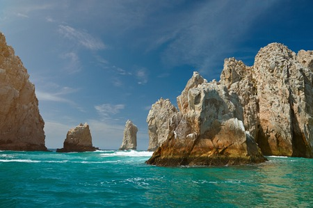 Giant rocks on sea beach in Cabo san Lucas Mexico. Tourism destination boat tour in mexico