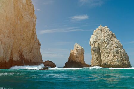 Cabo san Lucas rocks  travel background. Mexico vacation in scenery outside resort