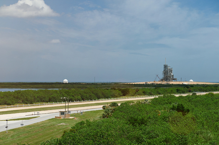 cape canaveral: Launch pad for space shuttle in cape canaveral center. Panoramic view on cape canaveral station