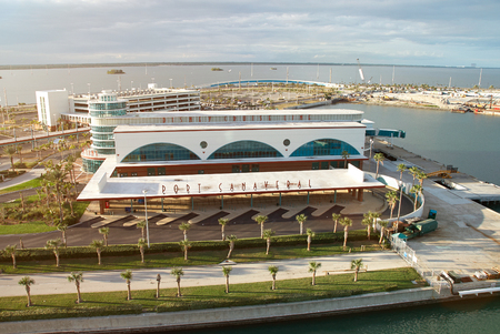 Orlando, USA - December 25, 2011: Disney cruise line terminal port aerial view. Panorama of port in Florida for cruise ships Editorial