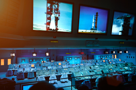 Orlando, USA - August 2, 2012: Control panel system for Moon mission in Nasa museum. Empty panel for rocket launch pad