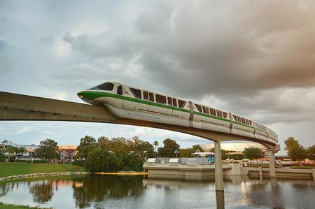 Orlando, USA - August 30, 2012: Monorail train in epcot disney park. Future transportation in Disney resort park Epcot Editorial